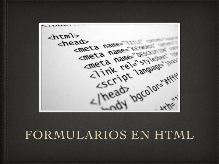 Tema 6 - Formularios en html