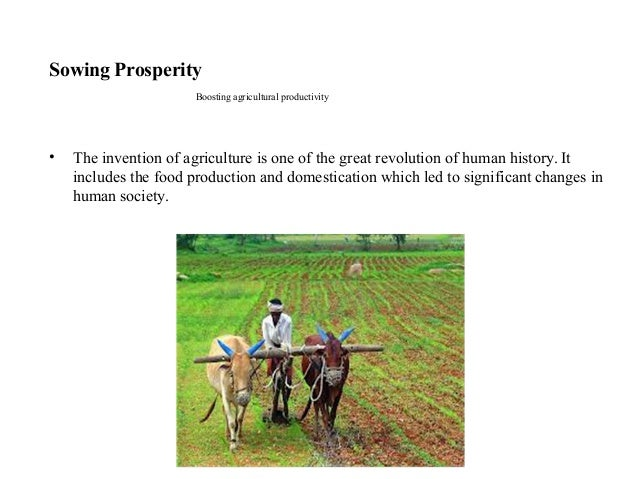 Sowing Prosperity Boosting agricultural productivity • The invention of agriculture is one of the great revolution of huma...