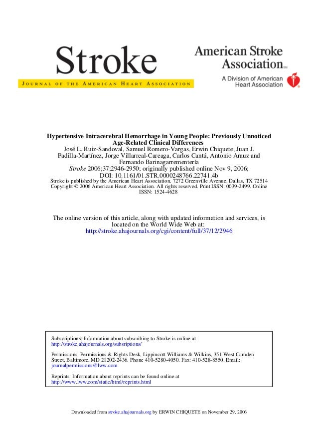 ISSN: 1524-4628 Copyright © 2006 American Heart Association. All rights reserved. Print ISSN: 0039-2499. Online Stroke is ...