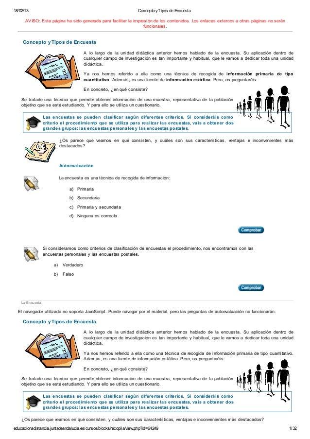 18/02/13 Concepto yTipos de Encuestaeducacionadistancia.juntadeandalucia.es/cursos/blocks/recopila/view.php?id=64249 1/32L...