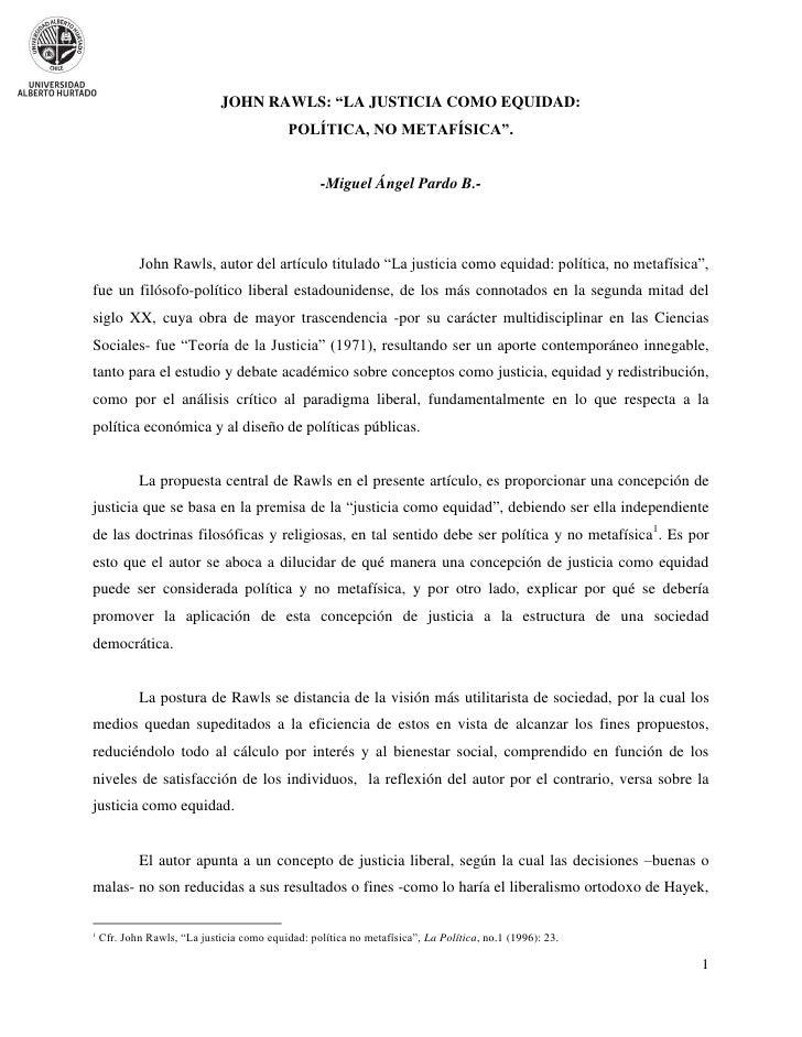 """JOHN RAWLS: """"LA JUSTICIA COMO EQUIDAD:                                            POLÍTICA, NO METAFÍSICA"""".               ..."""