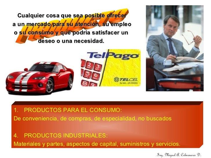 <ul><li>PRODUCTOS PARA EL CONSUMO: </li></ul><ul><li>De conveniencia, de compras, de especialidad, no buscados </li></ul><...