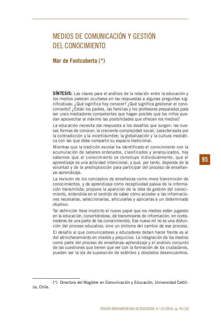 MEDIOS DE COMUNICACIÓN Y GESTIÓN             DEL CONOCIMIENTO             Mar de Fontcuberta (*)             SÍNTESIS: Las...