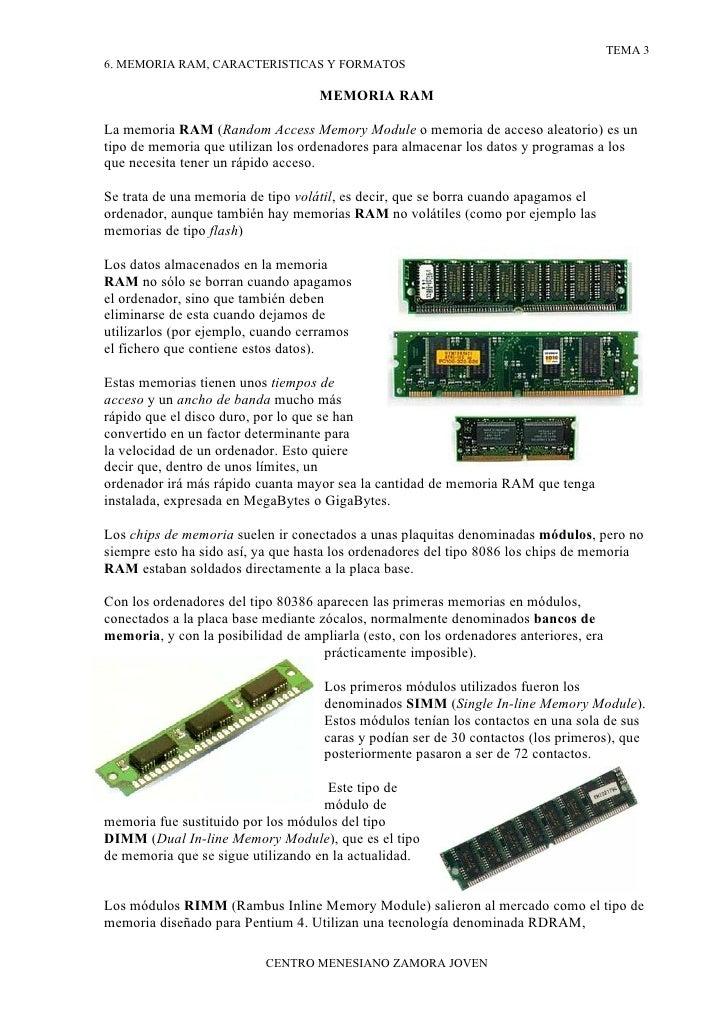 6. Memoria Ram, Caracteristicas Y Formatos