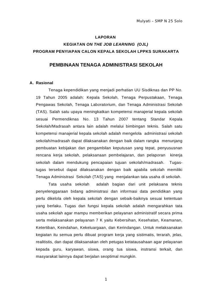 Mulyati – SMP N 25 Solo                                  LAPORAN                  KEGIATAN ON THE JOB LEARNING (OJL) PROGR...