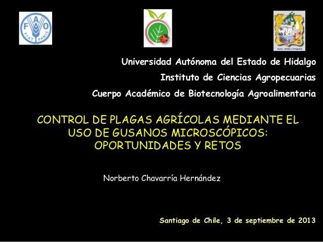 CONTROL DE PLAGAS AGRÍCOLAS MEDIANTE EL USO DE GUSANOS MICROSCÓPICOS: OPORTUNIDADES Y RETOS Norberto Chavarría Hernández U...