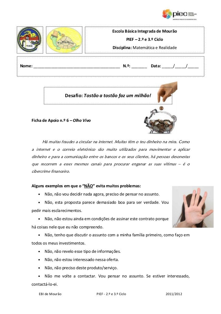 Escola Básica Integrada de Mourão                                                                  PIEF – 2.º e 3.º Ciclo ...