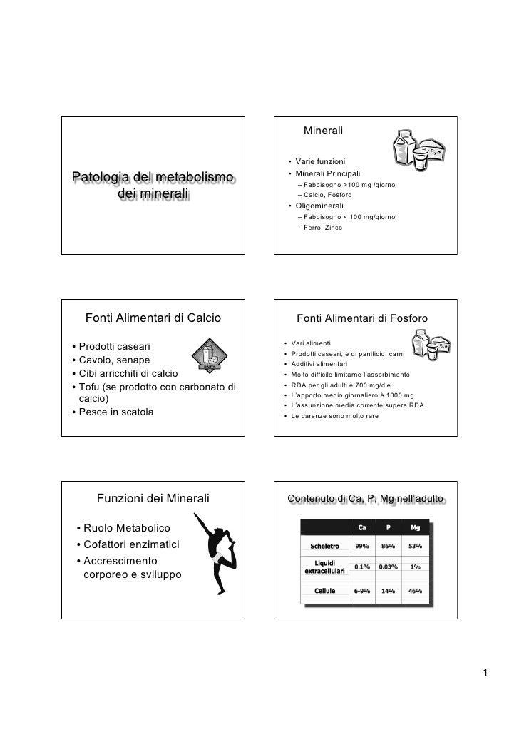 Minerali                                           • Varie funzioniPatologia del metabolismo                  • Minerali P...