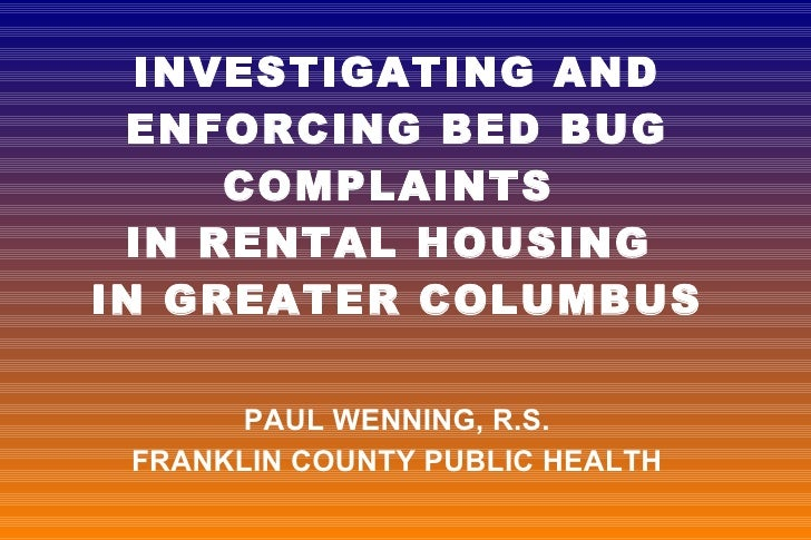 6 Investigating & Enforcing Bed Bug Complaints in Rental Housing in Greater Columbus