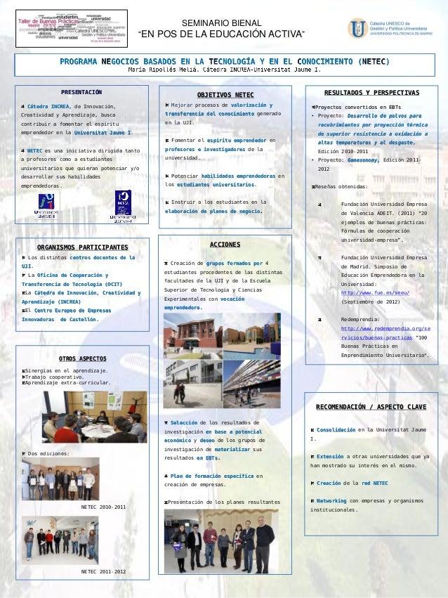 """IV Jornada Seminario Bienal """"Buenas prácticas"""" - 6. Programa de negocios basados en la tecnología y en el conocimiento (INCREA - UJI)"""