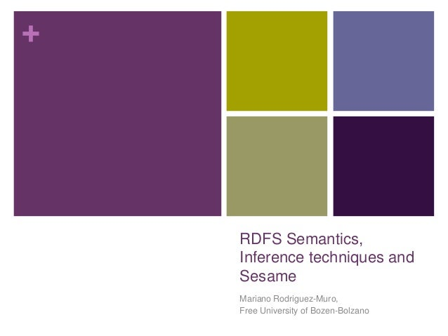 SWT Lecture Session 6 - RDFS semantics, inference techniques, sesame rdfs