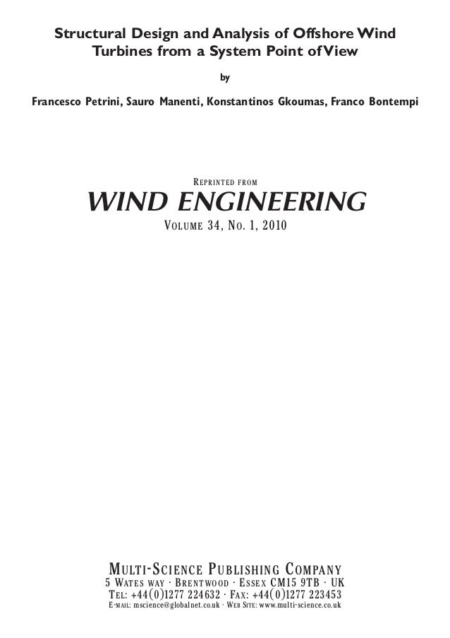 Structural Design and Analysis of Offshore Wind Turbines from a System Point of View by  Francesco Petrini, Sauro Manenti,...