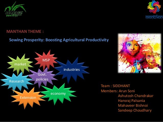 Sowing Prosperity: Boosting Agricultural Productivity MANTHAN THEME : Team : SIDDHANT Members: Arun Soni Ashutosh Chandrak...