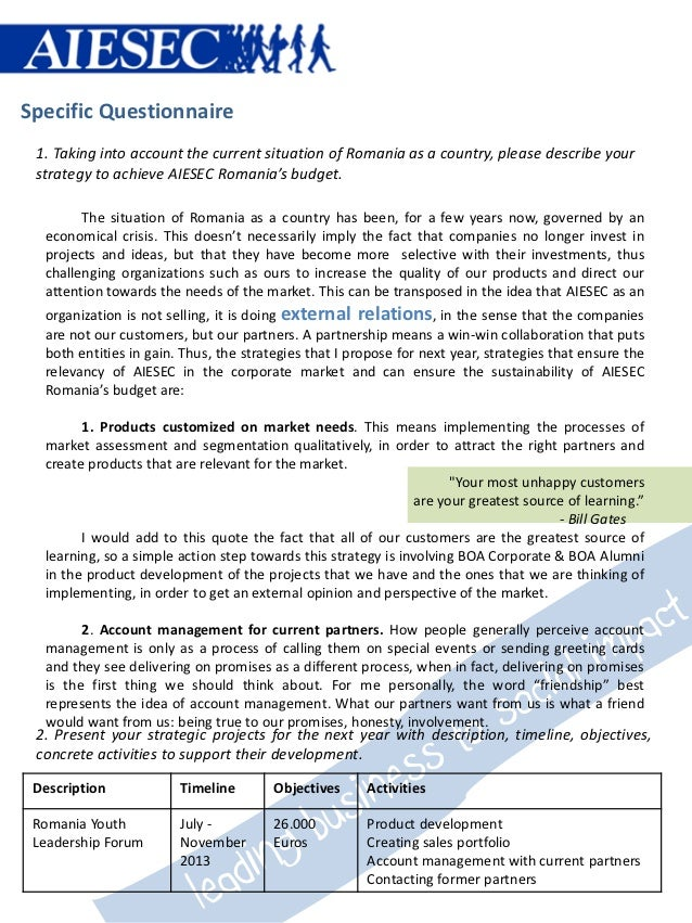 Specific Questionnaire 1. Taking into account the current situation of Romania as a country, please describe your strategy...