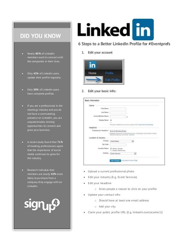 DID YOU KNOW 6 Steps to a Better LinkedIn Profile for #Eventprofs   Nearly 80% of LinkedIn members want to connect with t...