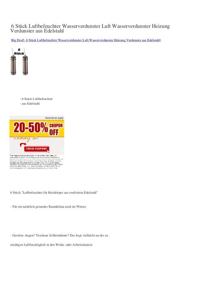 6 Stück Luftbefeuchter Wasserverdunster Luft Wasserverdunster HeizungVerdunster aus EdelstahlBig Deal!- 6 Stück Luftbefeuc...