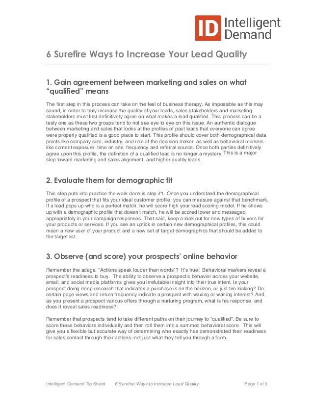 6 Surefire Ways to Increase Lead Quality by Intelligent Demand