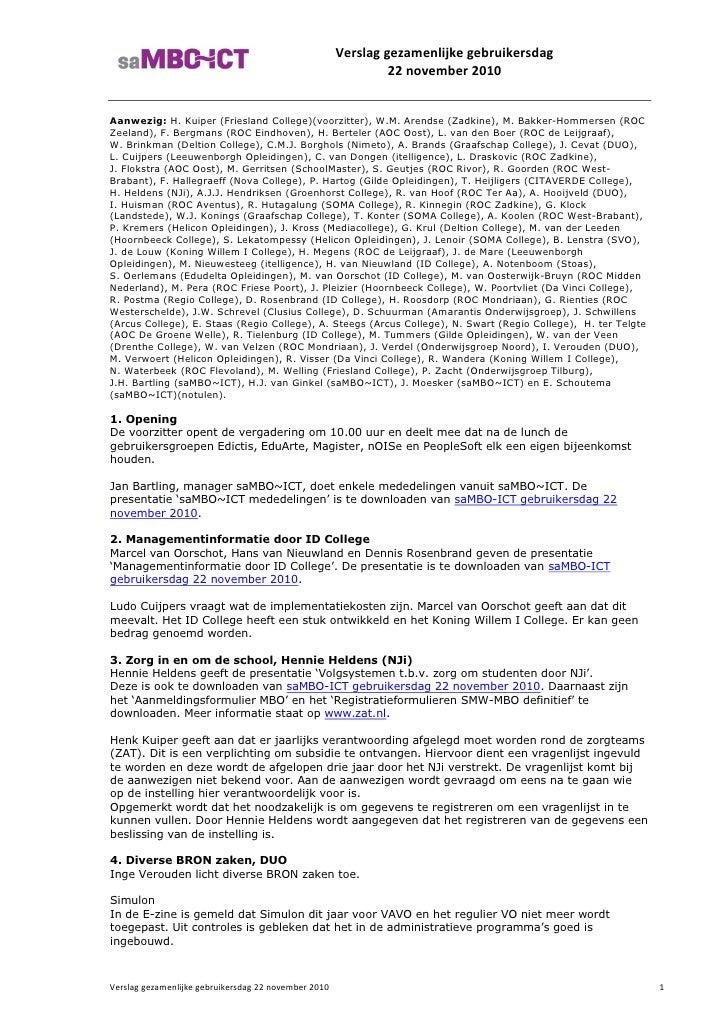 Verslag gebruikersdag saMBO-ICT 22 nov 2010