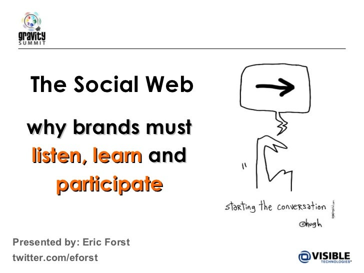 The Social Web why brands must  listen,   learn  and  participate Presented by: Eric Forst  twitter.com/eforst