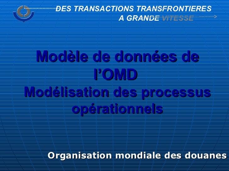 Organisation mondiale des douanes DES TRANSACTIONS TRANSFRONTIERES A GRANDE  VITESSE Modèle de données de l'OMD   Modélisa...