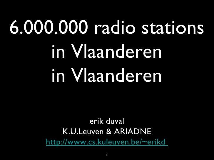 6.000.000 radiostations in vlaanderen