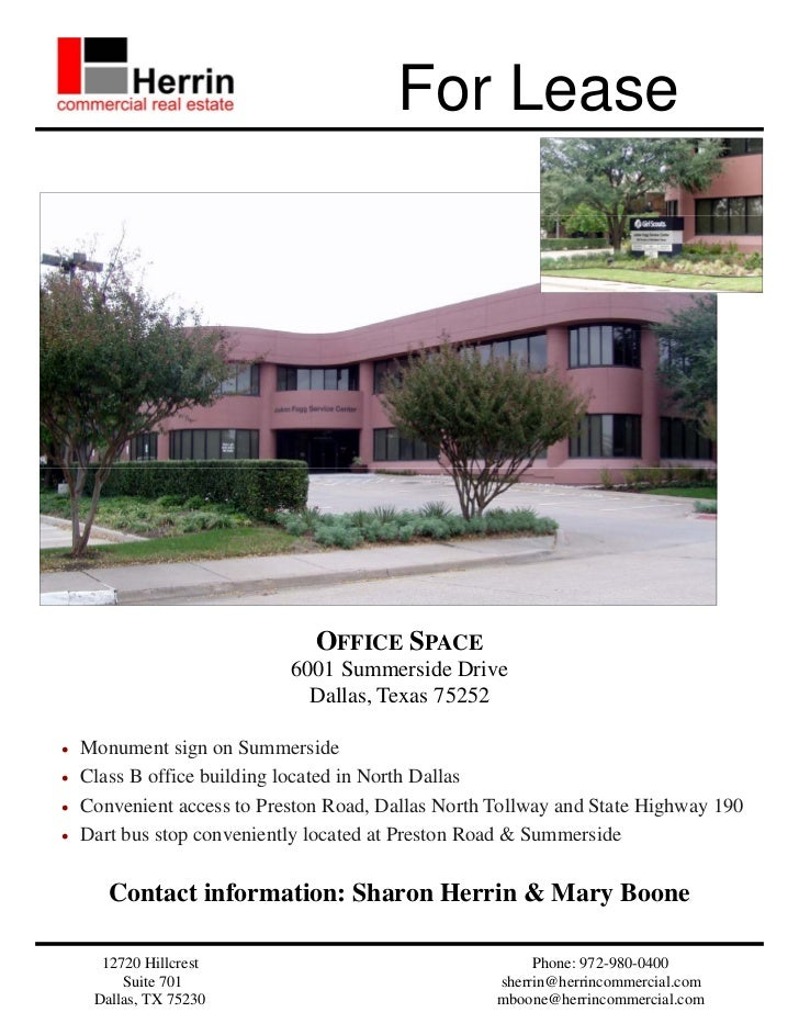 For Lease                               OFFICE SPACE                            6001 Summerside Drive                     ...
