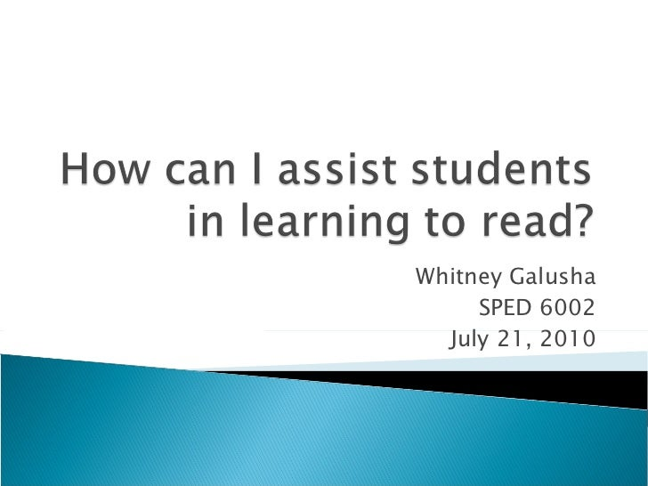 Assiting Students in Learning to Read