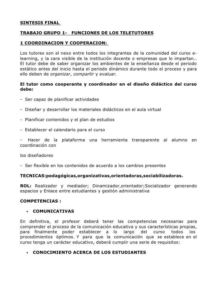 SINTESIS FINAL. FUNCION DE LOS TELETUTORES
