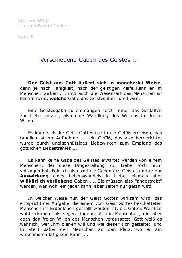 GOTTES WORT  ... durch Bertha Dudde  6013 a  Verschiedene Gaben des Geistes ....  Der Geist aus Gott äußert sich in manche...