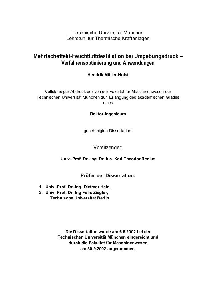 Müller-Holst, Hendrik. Multiple Effect Humidification Dehumidification at ambient pressure: Optimisation and applications