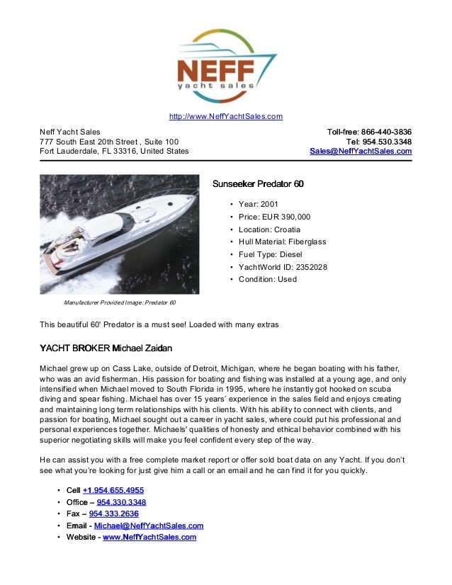 60' 2001 sunseeker predator 60 yacht for sale