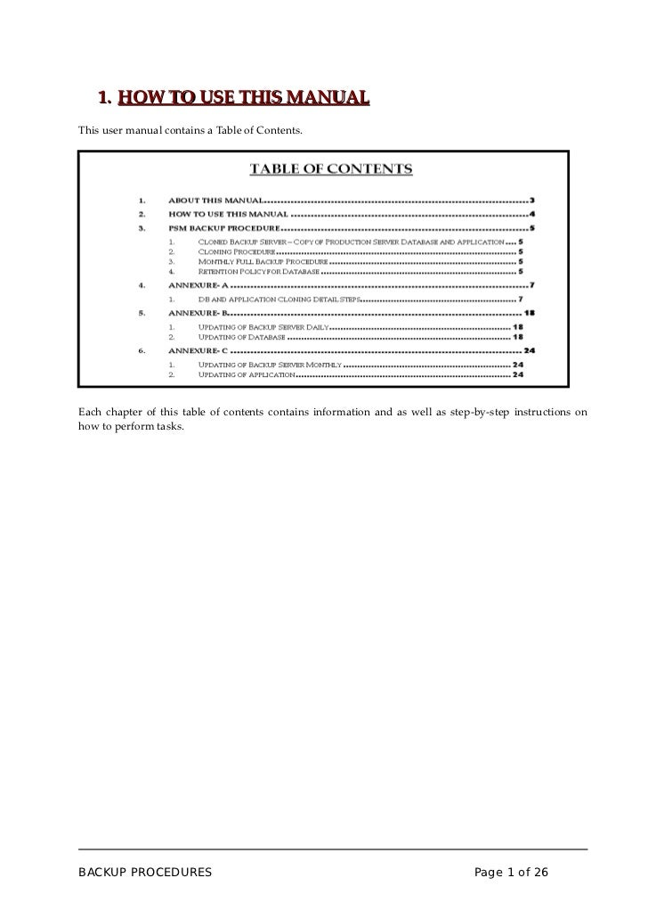 1. HOW TO USE THIS MANUALThis user manual contains a Table of Contents.Each chapter of this table of contents contains inf...