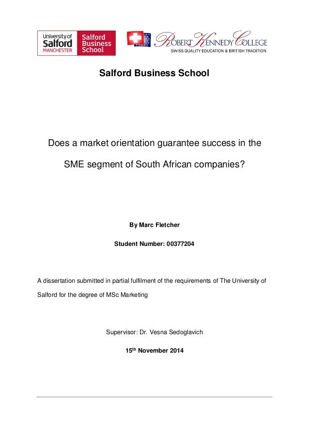 Dissertation training in sme