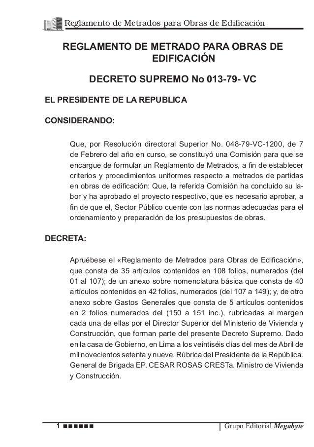 1 Grupo Editorial Megabyte Reglamento de Metrados para Obras de Edificación REGLAMENTO DE METRADO PARA OBRAS DE EDIFICACIÓ...