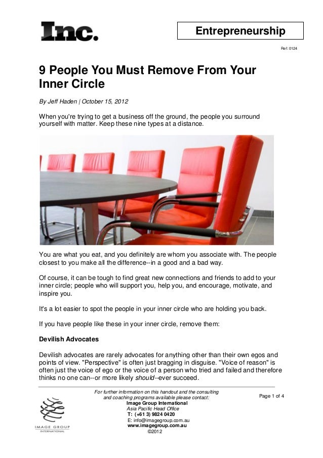 9 people you must remove from your inner circle