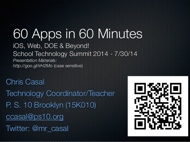 60 apps in 60 minutes: iOS, Web, DOE & Beyond - #NYCSTS14