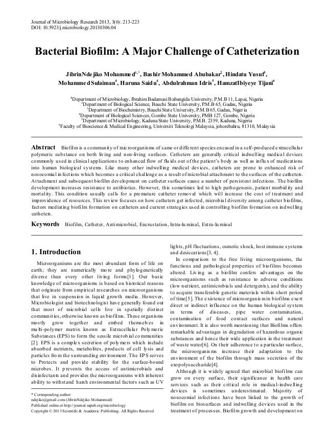 Journal of M icrobiology Research 2013, 3(6): 213-223 DOI: 10.5923/j.microbiology.20130306.04  Bacterial Biofilm: A Major ...