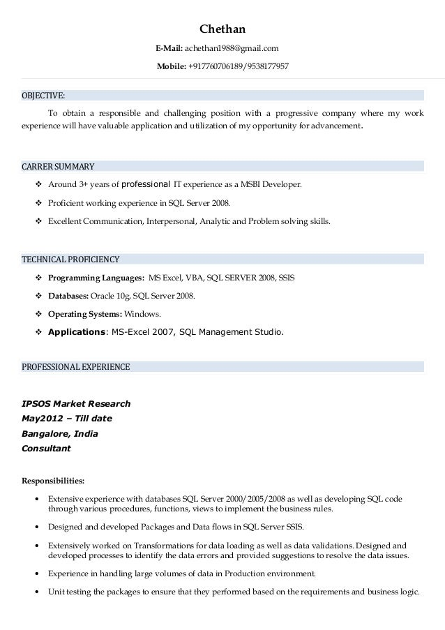 chethan resume msbi developer
