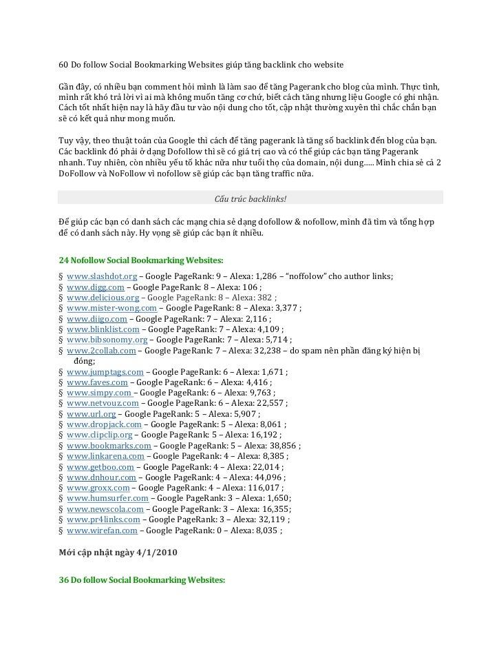 60 Do follow Social Bookmarking Websites giúp tăng backlink cho websiteGần đây, có nhiều bạn comment hỏi mình là làm sao đ...