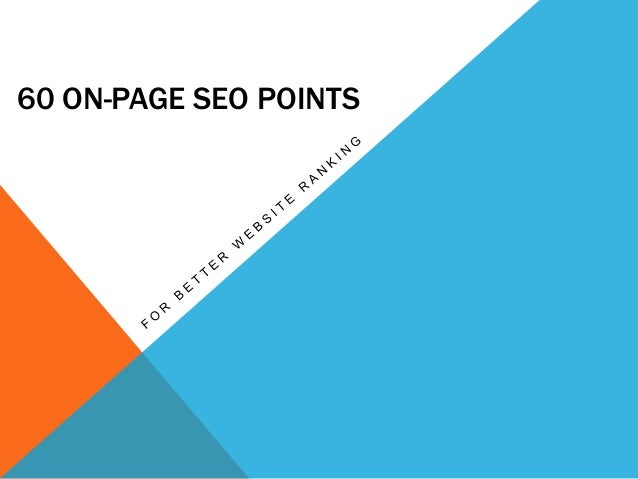 60 ON Page SEO Ranking Points