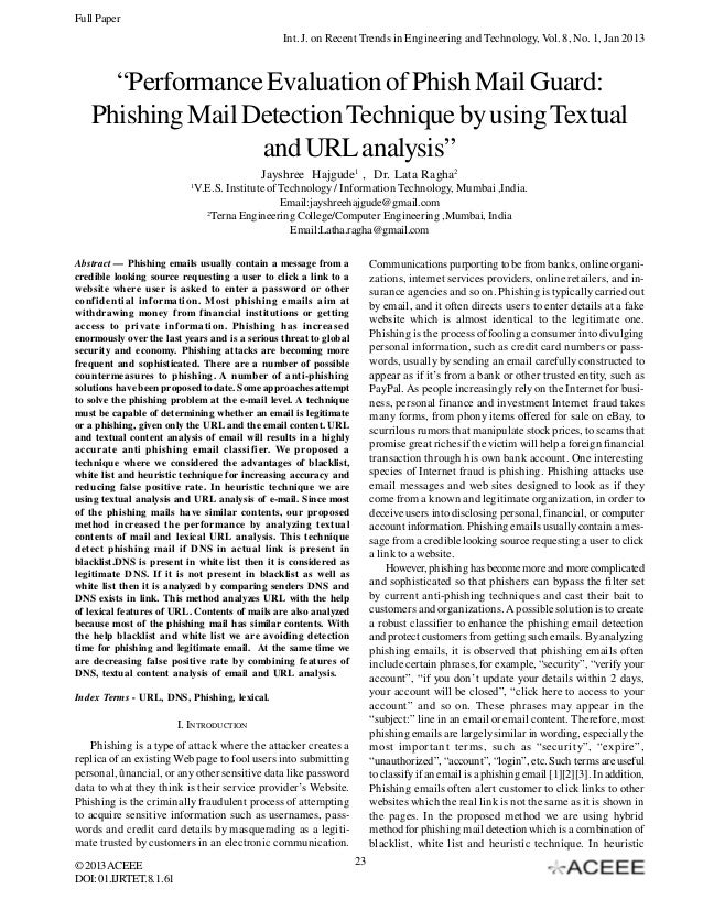"""Full Paper Int. J. on Recent Trends in Engineering and Technology, Vol. 8, No. 1, Jan 2013  """"Performance Evaluation of Phi..."""