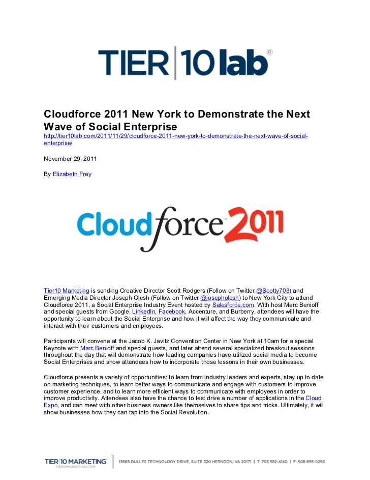 Cloudforce 2011 New York to Demonstrate the NextWave of Social E...