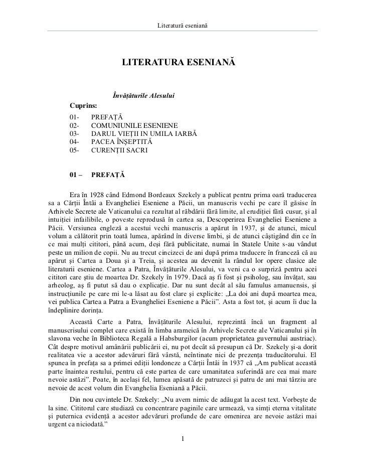 Literatură eseniană                           LITERATURA ESENIANĂ                        Învăţăturile Alesului       Cupri...