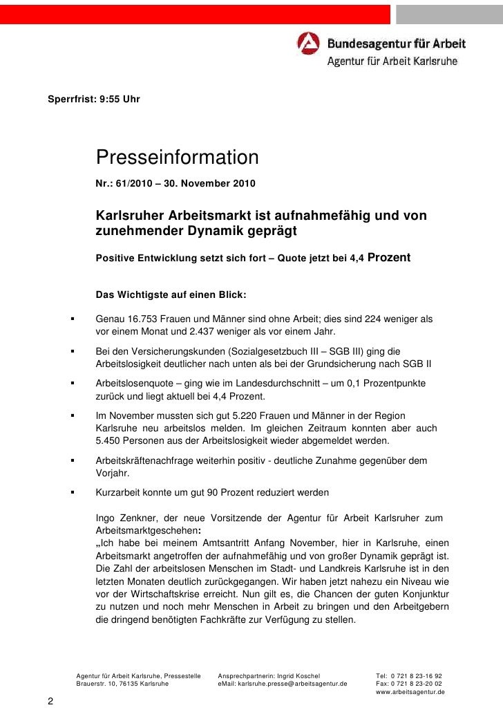 Sperrfrist: 9:55 Uhr            Presseinformation            Nr.: 61/2010 – 30. November 2010            Karlsruher Arbeit...