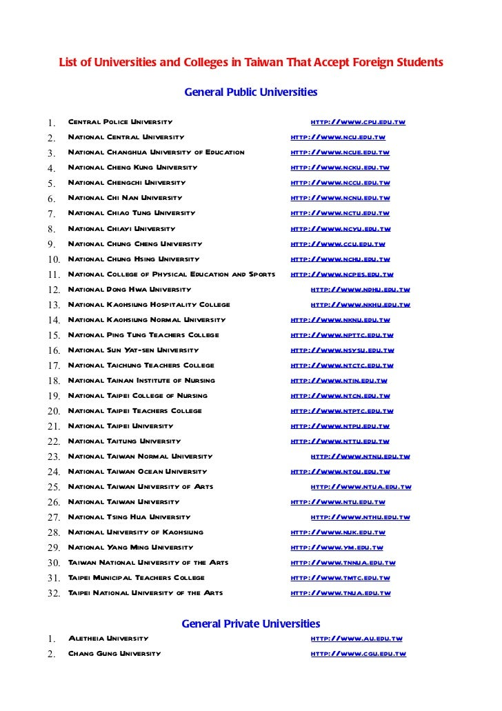 List of Universities and Colleges in Taiwan That Accept Foreign Students                                 General Public Un...