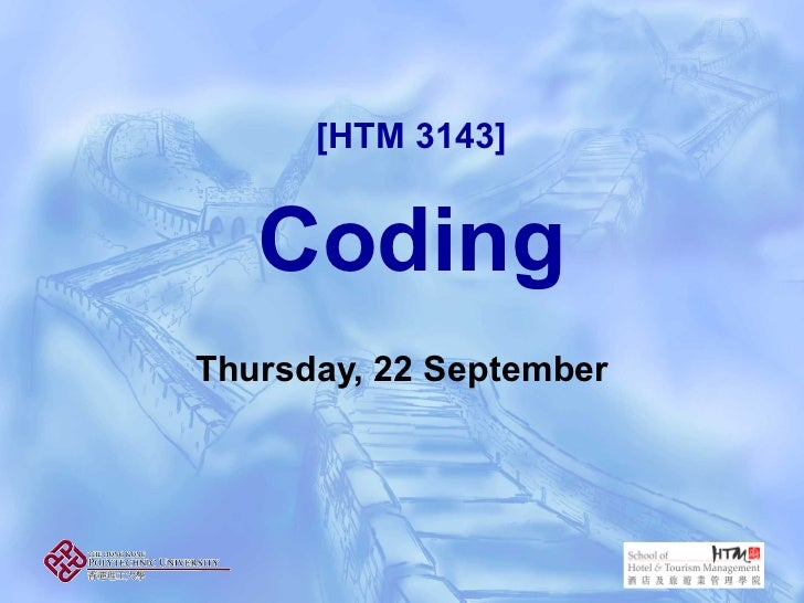 [HTM 3143]   CodingThursday, 22 September