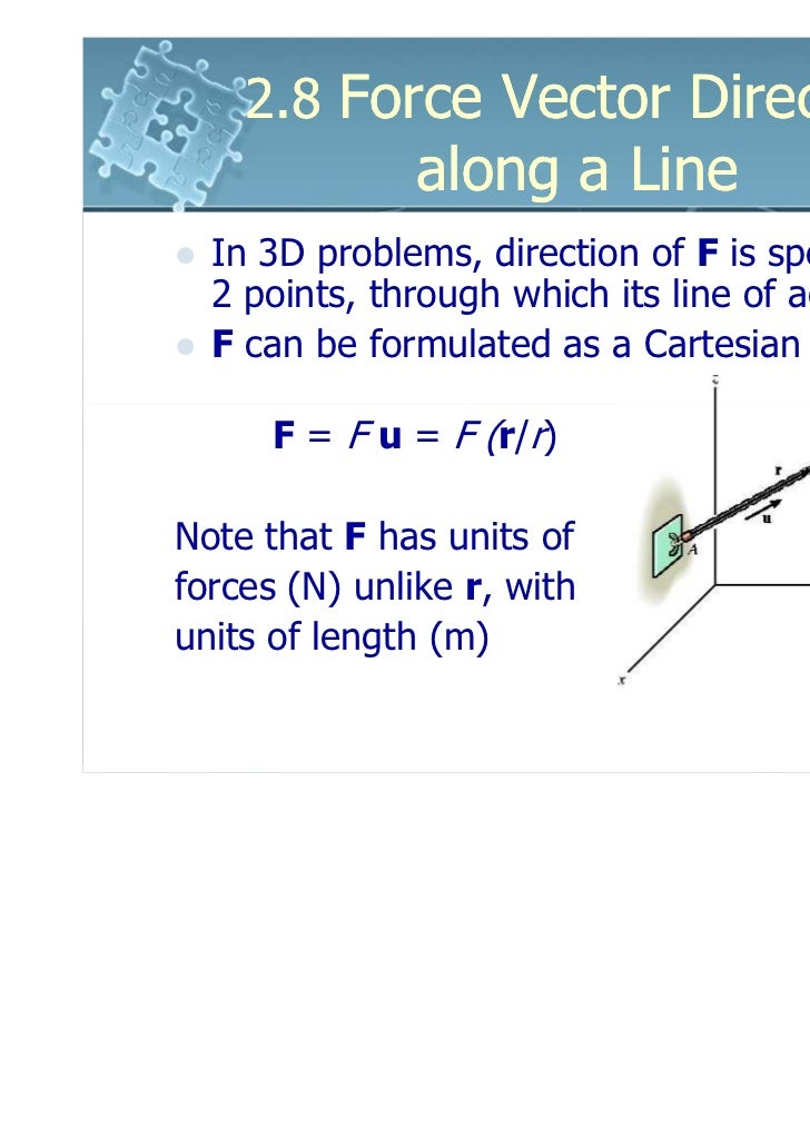 2.8 Force Vector Directed               along a Line  In 3D problems, direction of F is specified by  2 points, through wh...