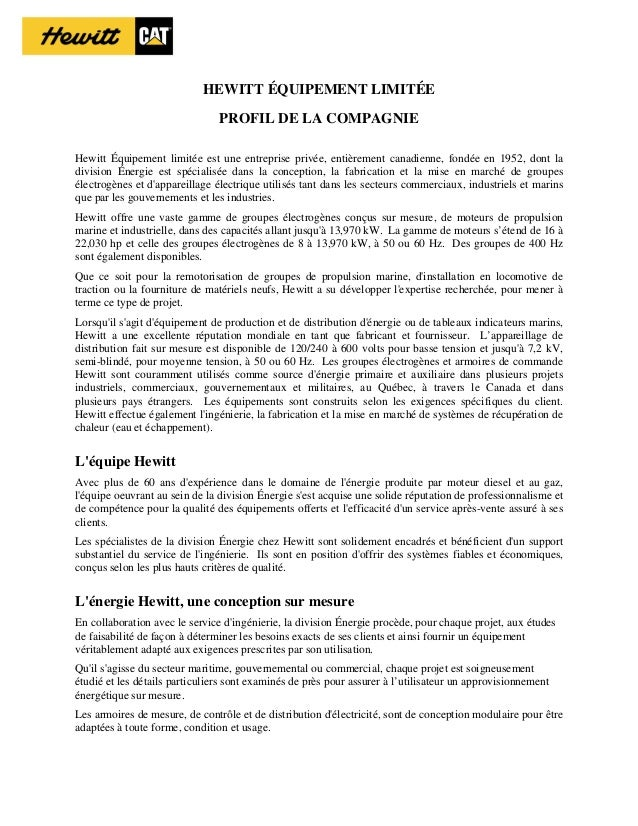 HEWITT ÉQUIPEMENT LIMITÉE PROFIL DE LA COMPAGNIE Hewitt Équipement limitée est une entreprise privée, entièrement canadien...