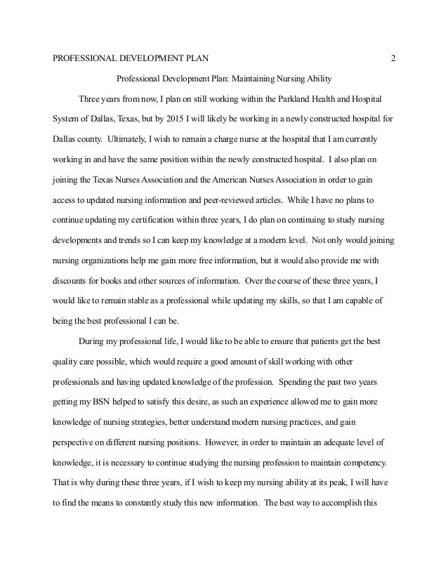 essay on personal and professional development in nursing
