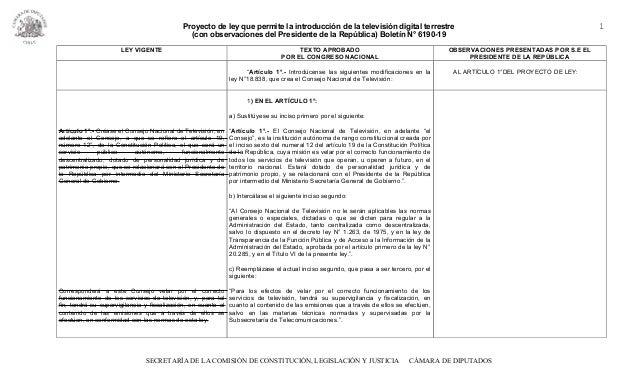 Proyecto de ley que permite la introducción de la televisión digital terrestre (con observaciones del Presidente de la Rep...